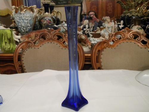 Антикварная Ваза Берц - 36 см Кобальт Цветное синее стекло СССР 1930 годов №1