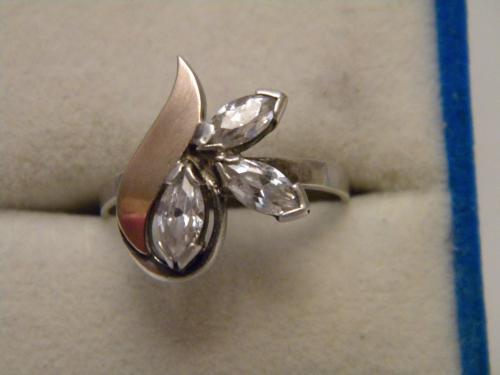 Кольцо Серебро 925 Золото 585 Украина №613