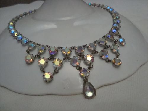Колье Ожерелье Винтаж 1960 Aurora Borealis Аврора Бореалис Яблонекс Чехословакия №14