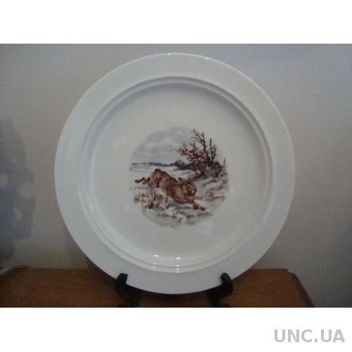 Старинная Тарелка - Блюдо Заяц Охота - 24 см Фарфор Бавария Германия №1059))
