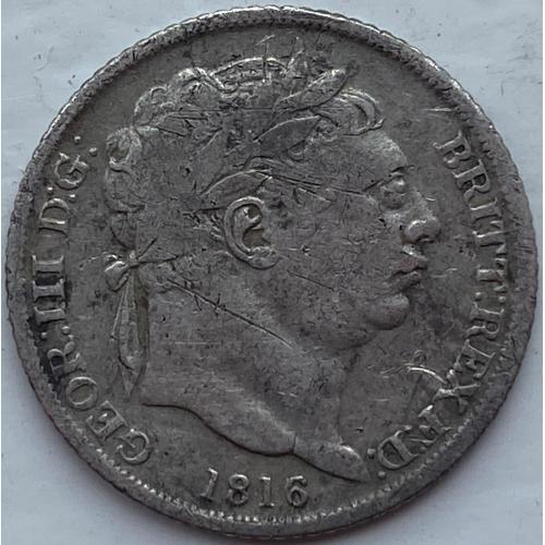 Англия 6 пенсов 1816 год СЕРЕБРО!! РЕДКАЯ!!!!