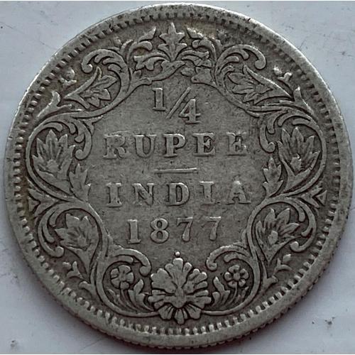 Британская Индия 1/4 рупия 1877 год СЕРЕБРО! РЕДКАЯ!!!!