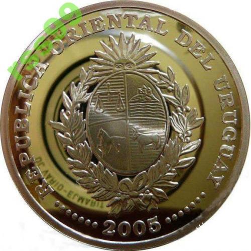 Уругвай 1000 песо 2005 серебро 925. ФУТБОЛ!!