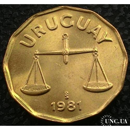Уругвай 50 сентимо 1981 год UNC!!!! ОТЛИЧНАЯ!!!!!!!
