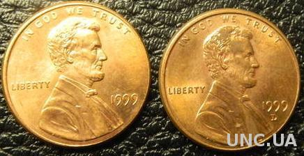1 цент 1999 США (два різновиди)