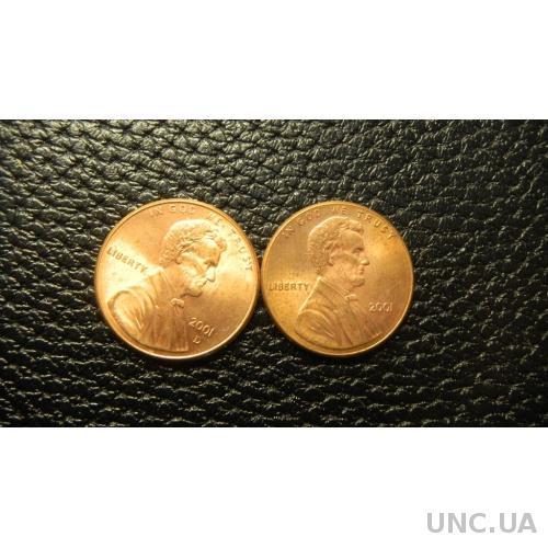 1 цент 2001 США (два різновиди)