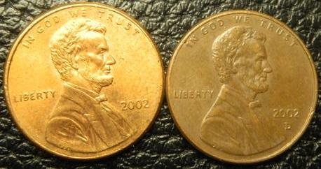 1 цент 2002 США (два різновиди)