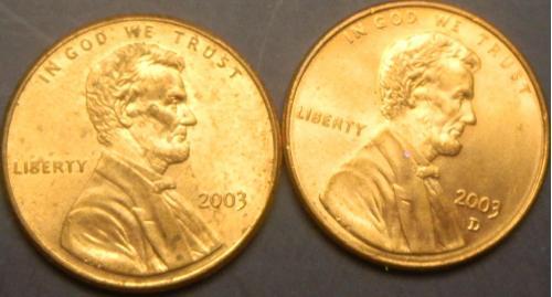 1 цент 2003 США (два різновиди)