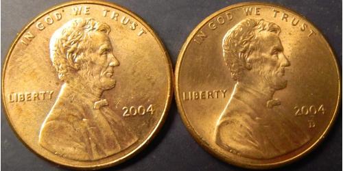 1 цент 2004 США (два різновиди)