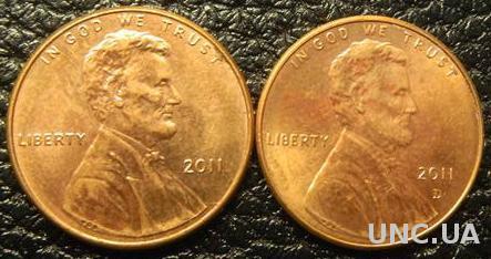 1 цент 2011 США (два різновиди)