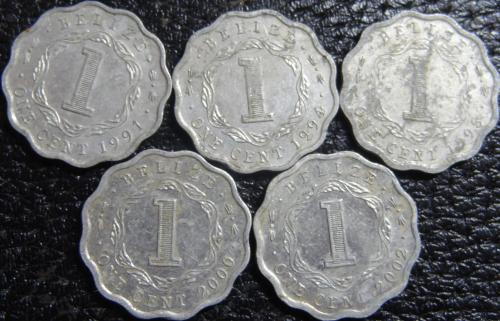 1 цент Беліз (порічниця) 5шт, всі різні