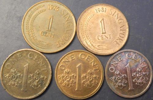 1 цент Сінгапур (порічниця) 5шт, всі різні