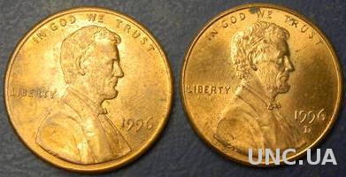 1 цент США 1996 (два різновиди)