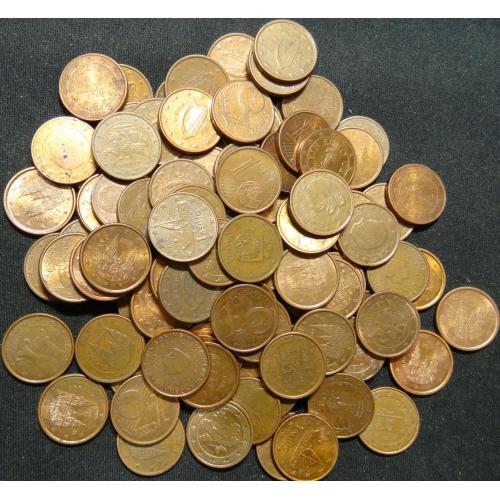 1 євроцент 100шт суперлот (асортимент країн)