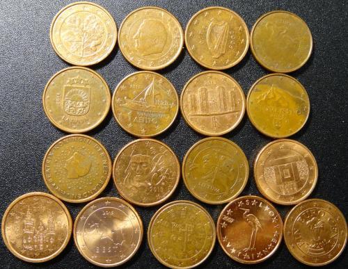 1 євроцент різних країн Євросоюзу (комплект), 17шт, всі різні
