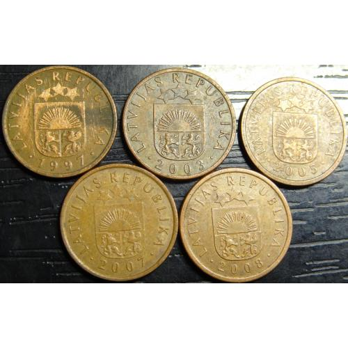 1 сантим Латвія (порічниця), 5шт, всі різні