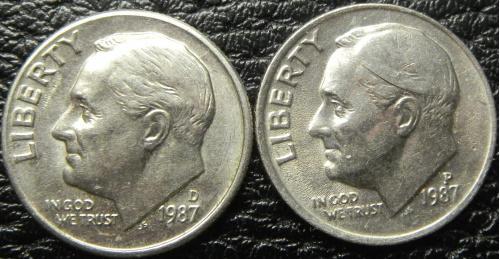 10 центів 1987 США (два різновиди)