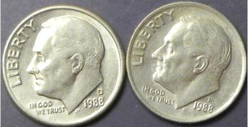 10 центів 1988 США (два різновиди)