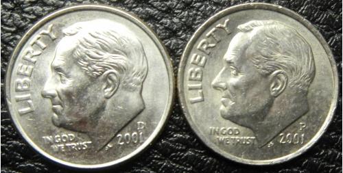 10 центів 2001 США (два різновиди)