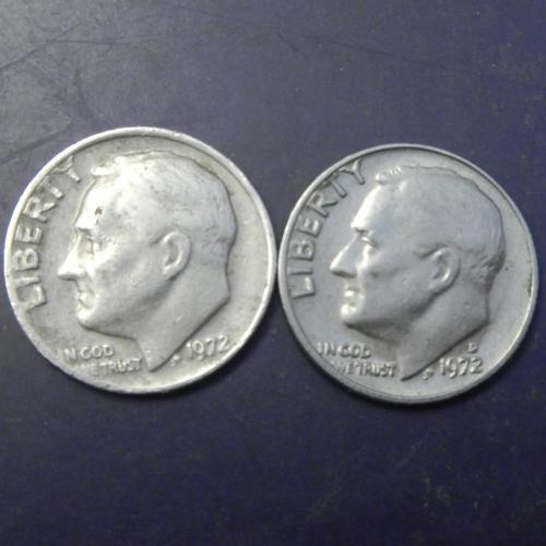 10 центів 1972 США (два різновиди)