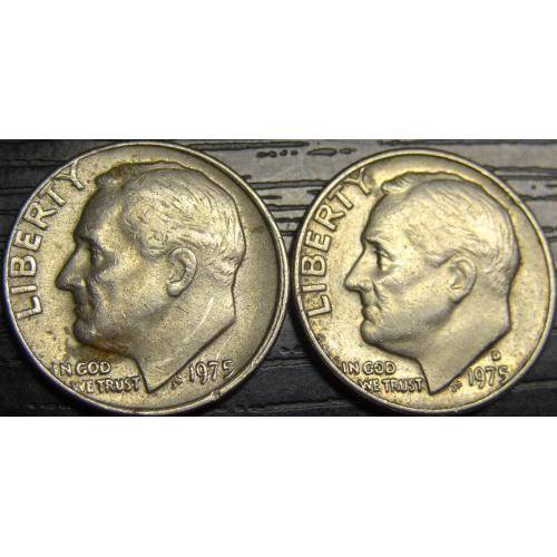 10 центів 1975 США (два різновиди) нечасті