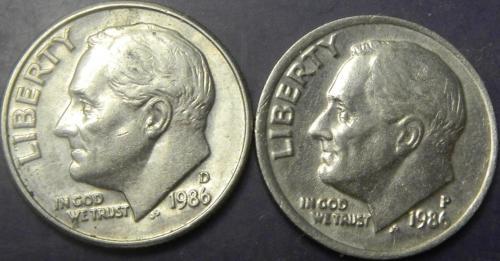 10 центів 1986 США (два різновиди)