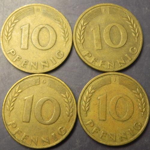 10 пфенігів 1950 ФРН (всі монетні двори)