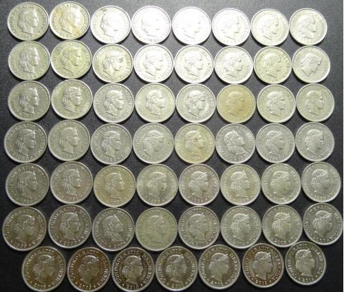 10 рапенів Швейцарія (порічниця з 1946), 55шт, всі різні