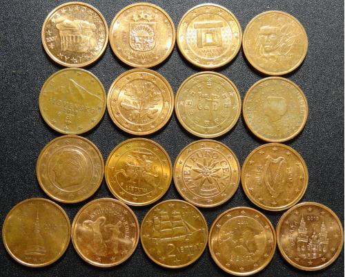 2 євроцента різних країн Євросоюзу (комплект), 17шт, всі різні