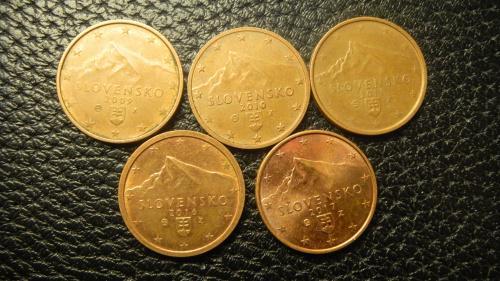 2 євроценти Словаччина (порічниця) 5шт, всі різні