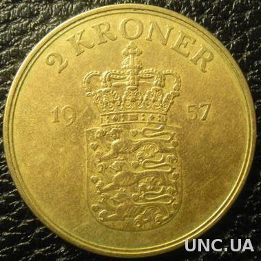 2 крони 1957 Данія нечаста