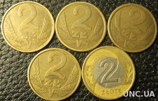 2 злотих Польща (порічниця) 5шт, всі різні