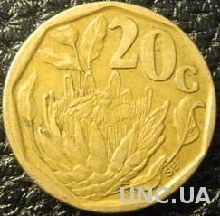 20 центів 1992 Південна Африка