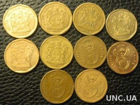 20 центів Південна Африка (порічниця) 10шт, всі різні