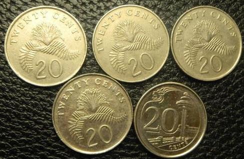 20 центів Сінгапур (порічниця) 5шт, всі різні