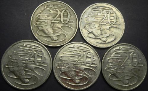 20 центів Австралія (порічниця) 5шт, всі різні