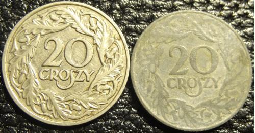 20 грошей 1923 Польща (два різновиди, нікель і цинк)
