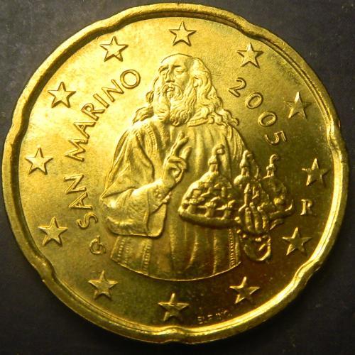 20 євроцентів 2005 Сан-Маріно UNC рідкісна