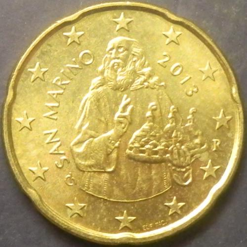20 євроцентів 2013 Сан-Маріно дуже рідкісна