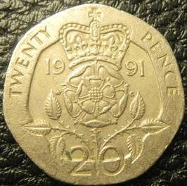 20 пенсів 1991 Британія нечаста