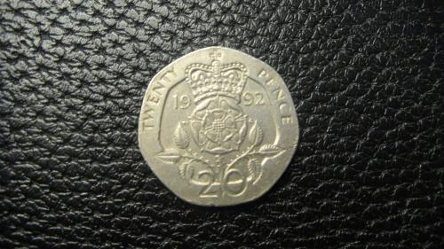 20 пенсів 1992 Британія нечаста