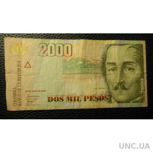 2000 песо 2010 Колумбія