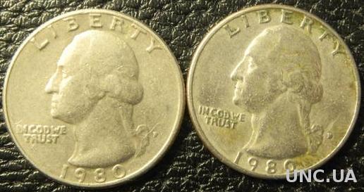 25 центів 1980 США (два різновиди)