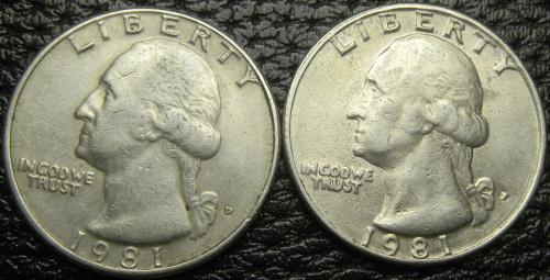 25 центів 1981 США (два різновиди)