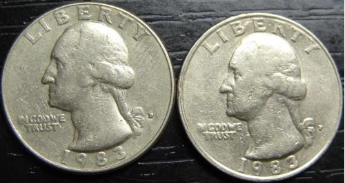 25 центів 1983 США (два різновиди)