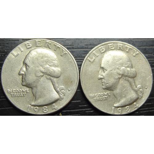 25 центів 1984 США (два різновиди)