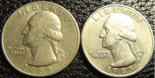25 центів 1985 США (два різновиди)