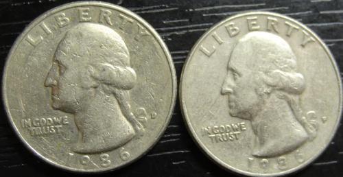 25 центів 1986 США (два різновиди)