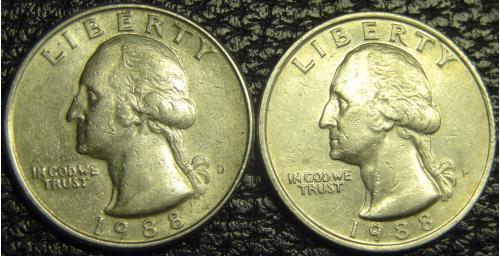 25 центів 1988 США (два різновиди)