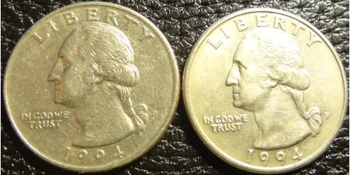 25 центів 1994 США (два різновиди)